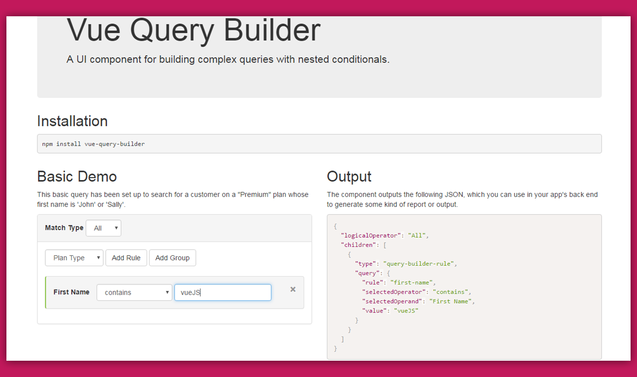 Vue Query Builder - Vue js Feed