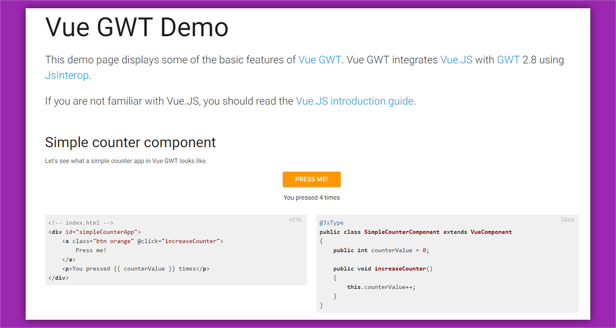Vue.js integration for GWT 2.8