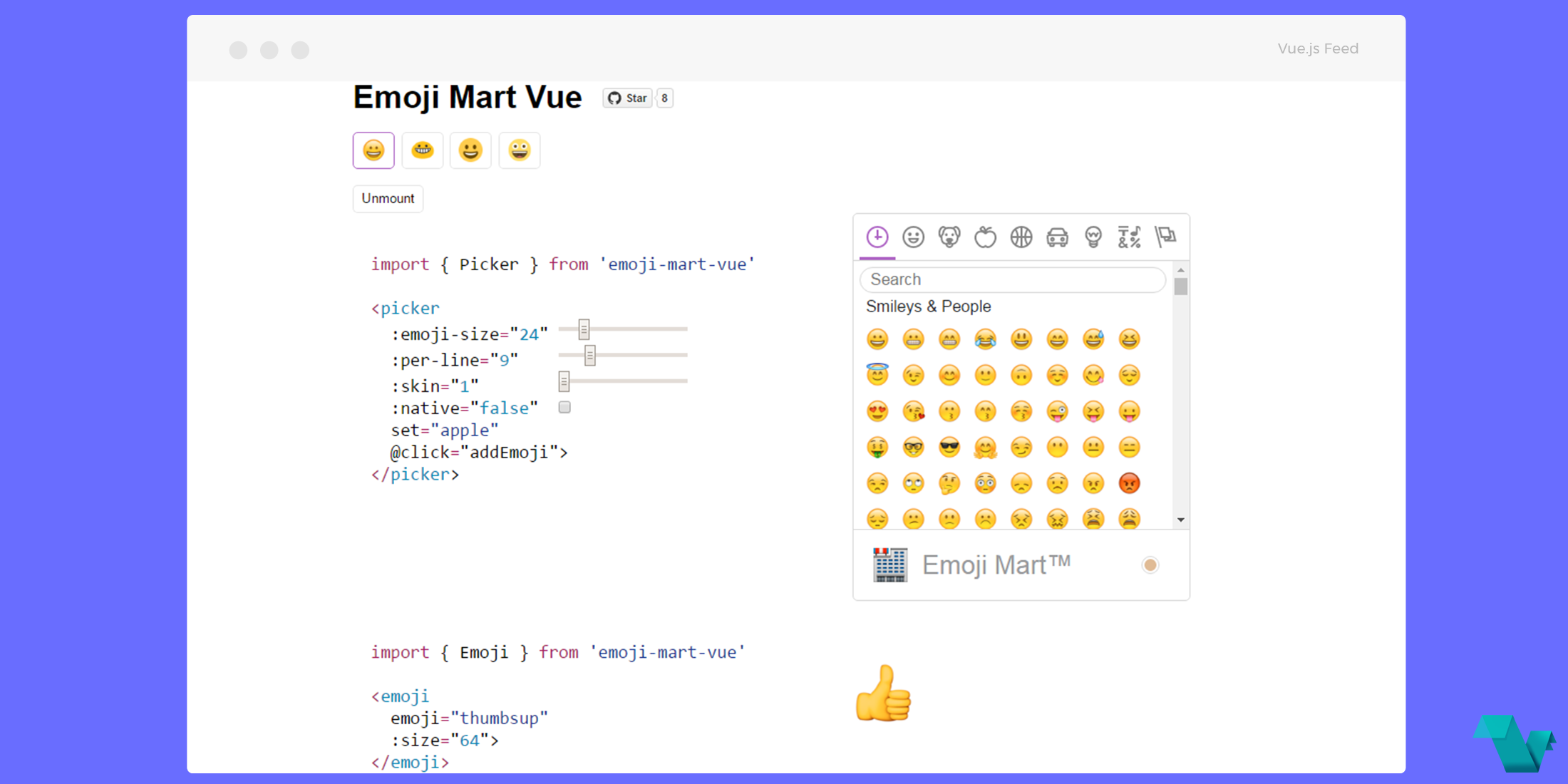 Picking emoticons with the Emoji Mart Vue component - Vue js