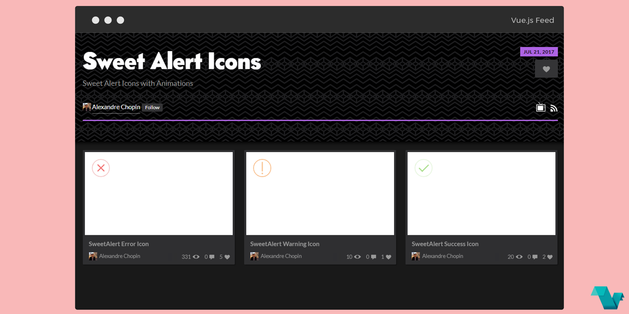 CodePen collection: SweetAlert Icons with animations - Vue js Feed