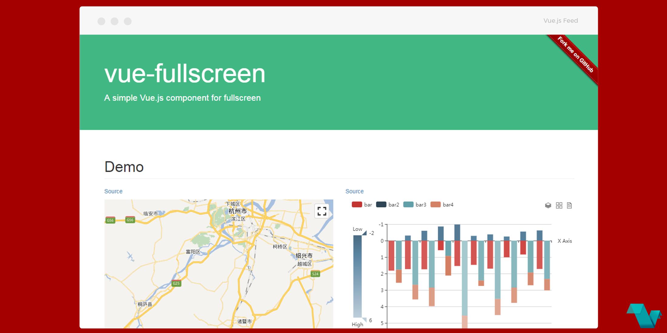 A simple Vue js component for fullscreen - Vue js Feed