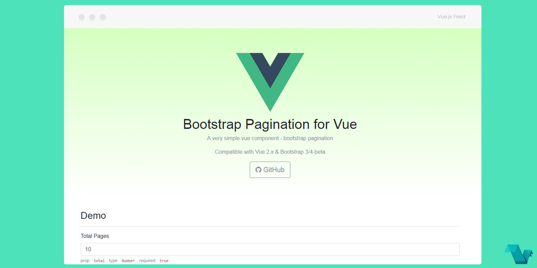 Vue Pagination component For Bootstrap - Vue js Feed