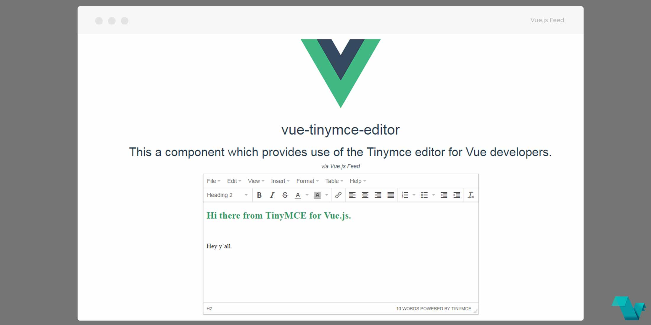 Tinymce Editor Component for Vue js - Vue js Feed