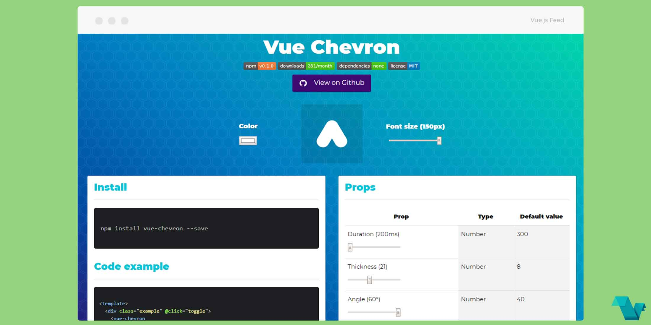 Use an animated chevron icon component for Vue js - Vue js Feed