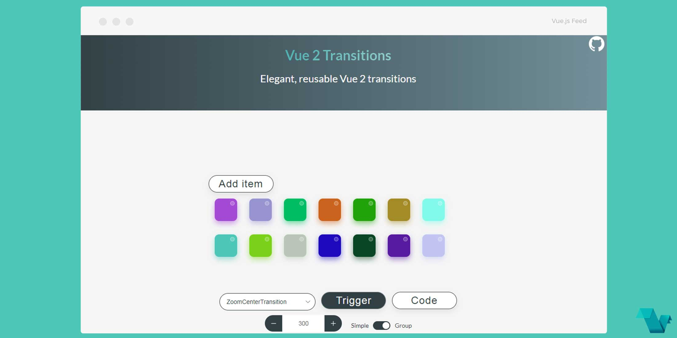 Using transition components without external libraries - Vue js Feed